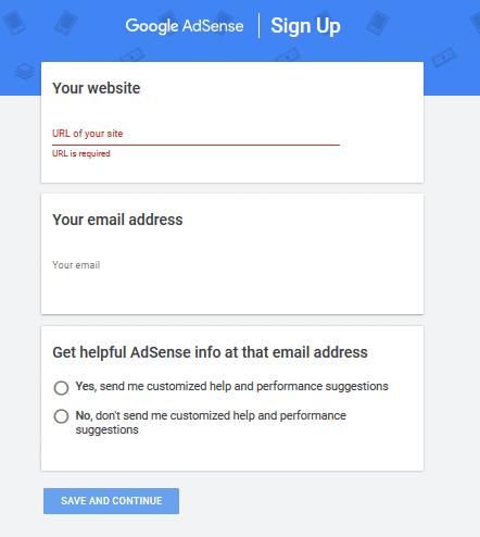 Google Adsense - Enter domain name