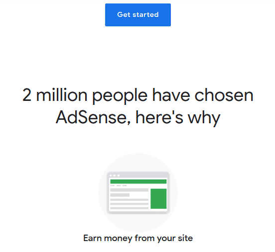 Sign up to make money with Google Adsense